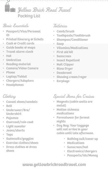 Packing List Yellow Brick Road Travel